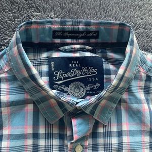 Superdry Men LS Blue & Pink Plaid Shirt Size M